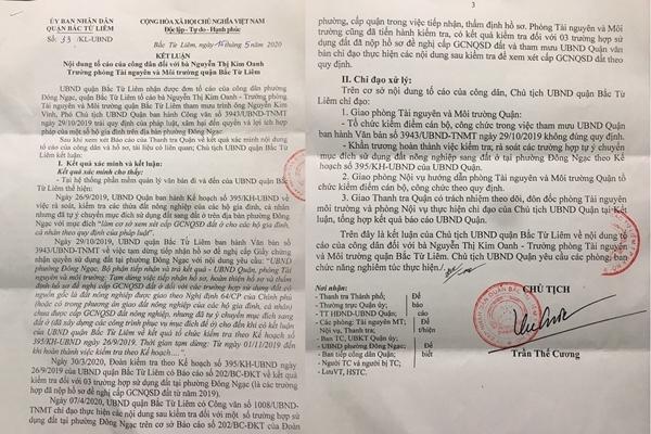 Trưởng phòng TN&MT Bắc Từ Liêm tham mưu ban hành văn bản sai