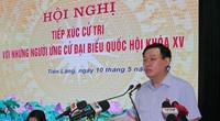 Chủ tịch Quốc hội Vương Đình Huệ tiếp xúc cử tri, vận động bầu cử tại huyện Tiên Lãng